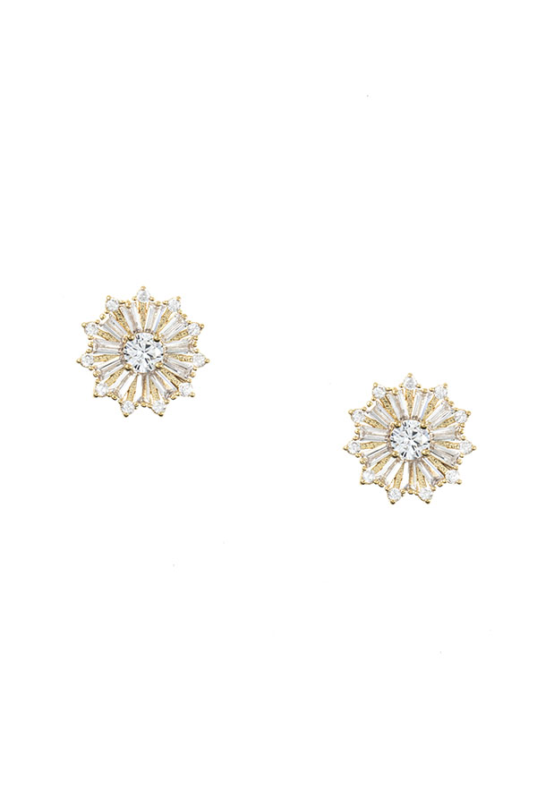 CZ STONE FLORAL POST EARRING