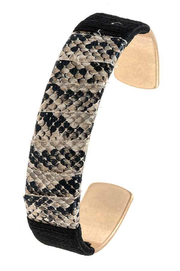 WRAPPED ANIMAL PATTERN CUFF BRACELET