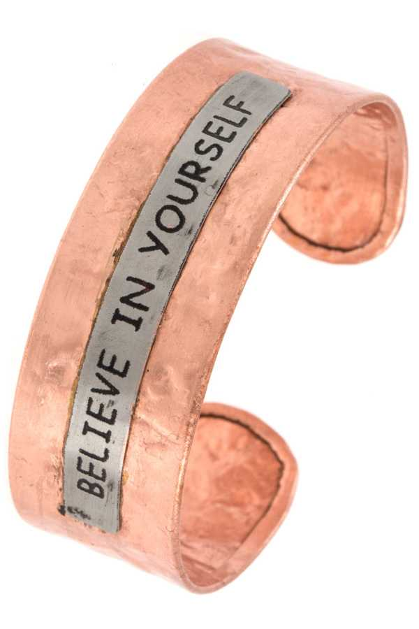 """Believe In Yourself"" Hammered Cuff Bracelet"