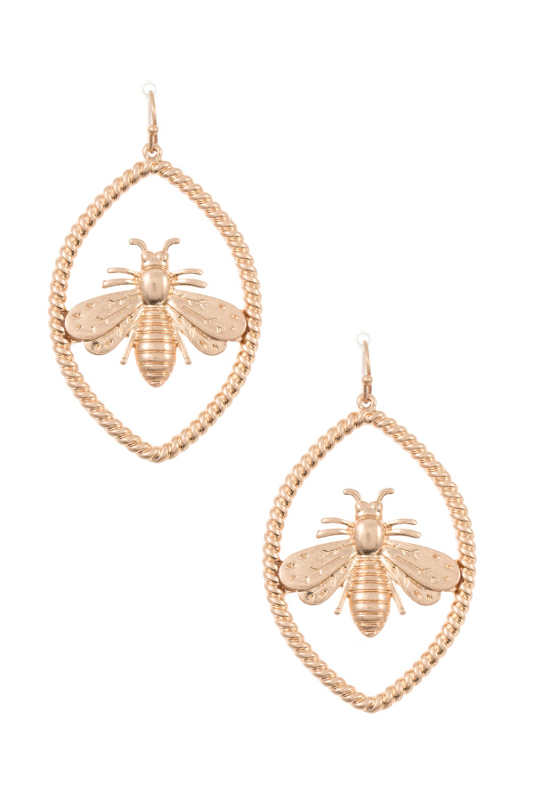 BEE ACCENT FRAMED EARRING