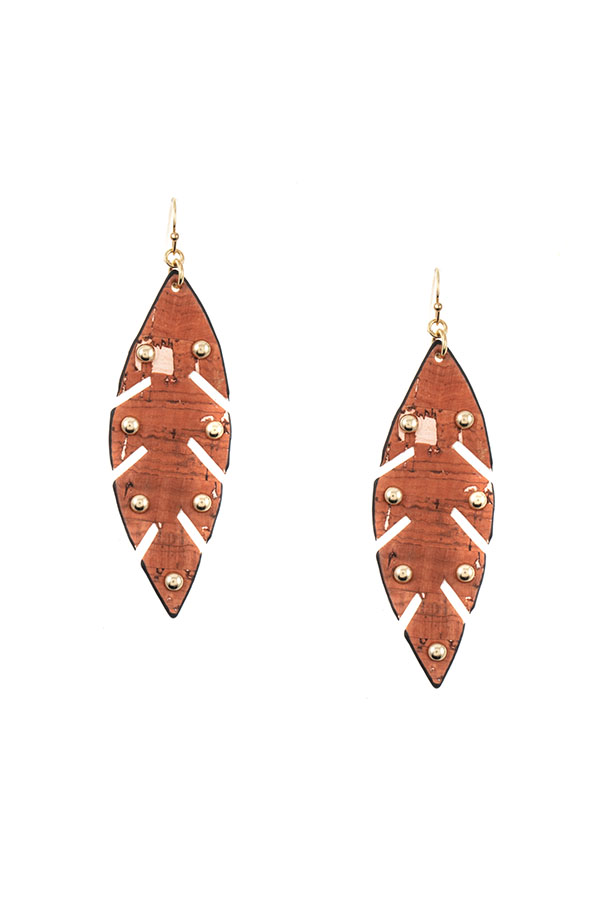 STUDDED LEAF FAUX LEATHER EARRING
