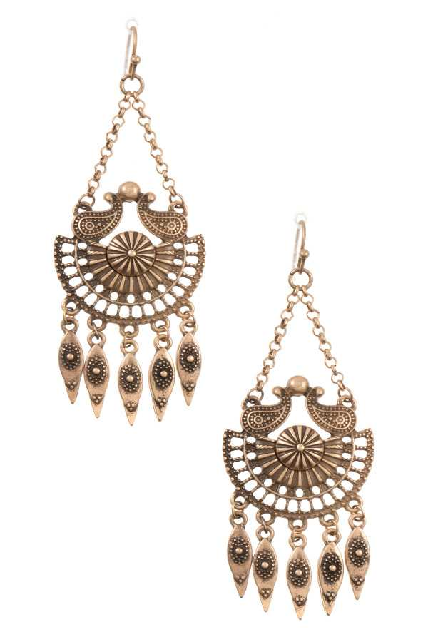 BOHEMIAN ORNATE DETAILED DANGING EARRING