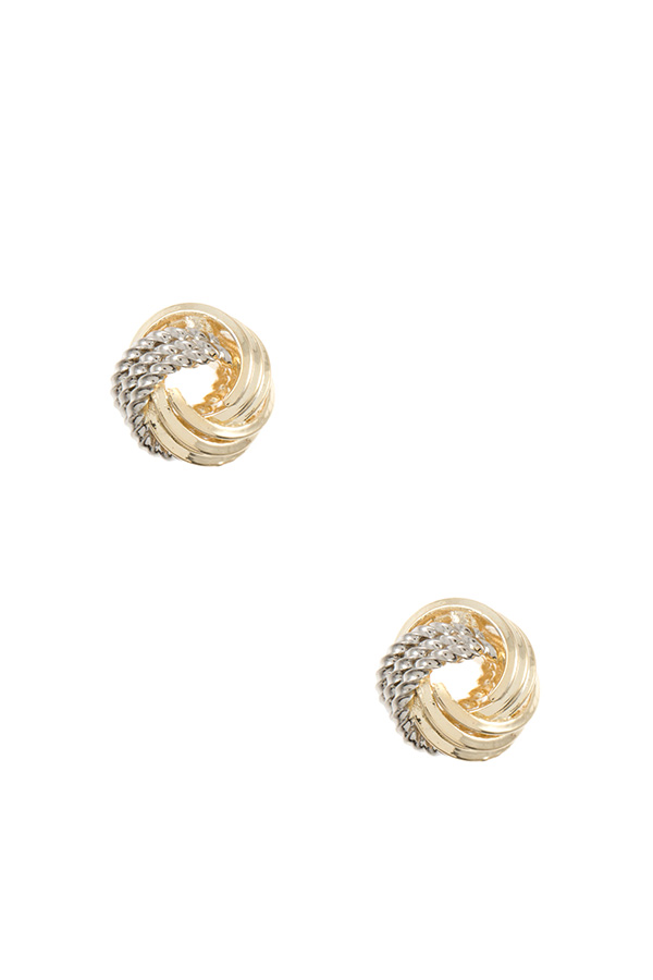 MIX TEXTURED KNOT POST EARRING