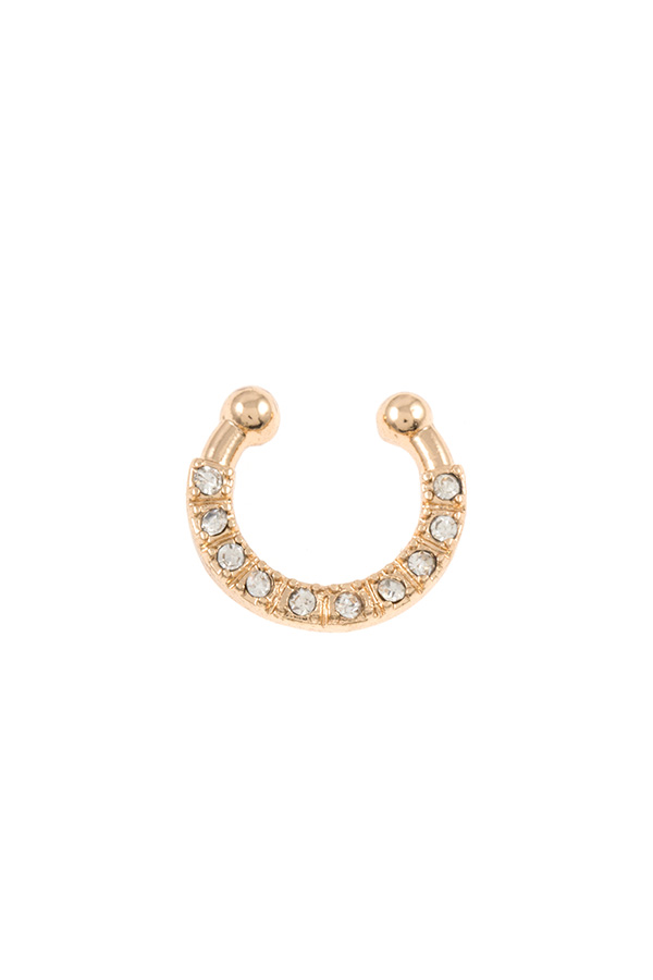 RHINESTONE PAVE FAUX NOSE RING