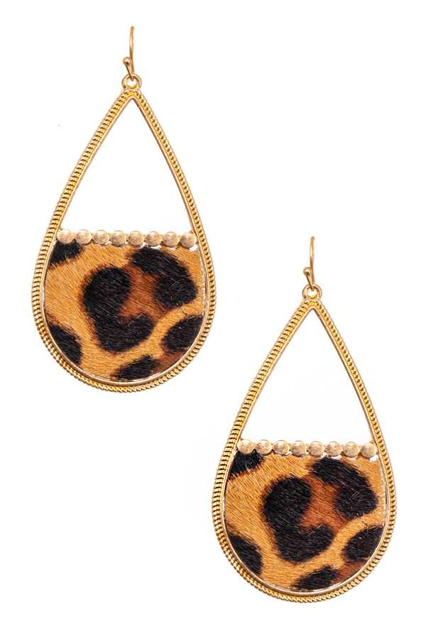 ANIMAL PRINT TEARDROP DANGLE EARRING