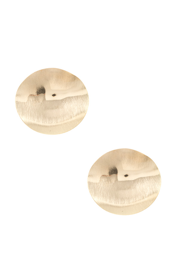 BRUSHED WAVED DISK POST EARRING