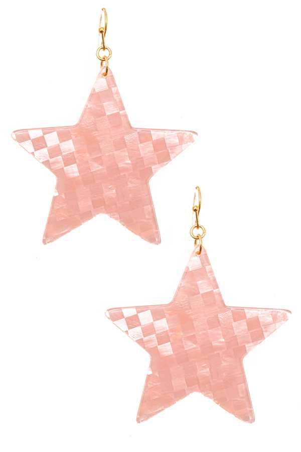 ACRYLIC STAR DROP DANGLE EARRING