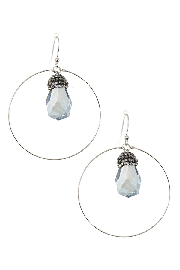 RING FACETED CRYSTAL GEM EARRING