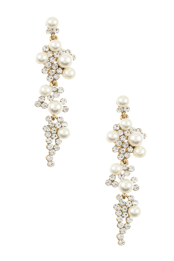 TIERED PEARL AND RHINESTONE DROP EARRING
