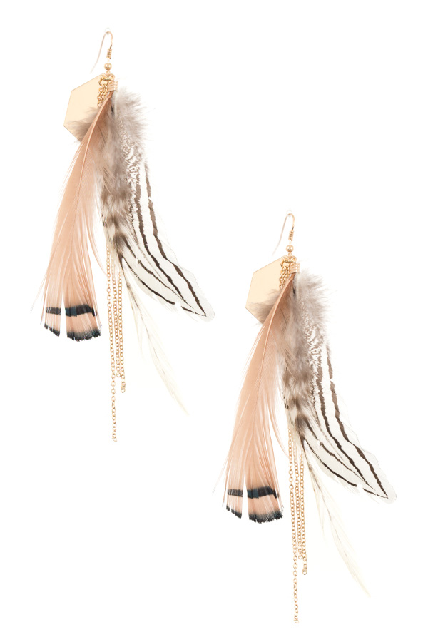 FAUX FEATHER CHAIN DANGLE EARRING