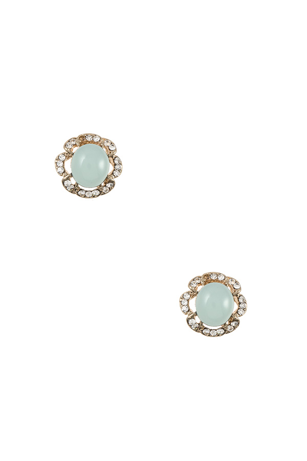 Oval Stone Floral Post Earring
