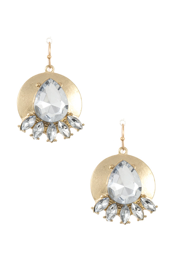 CRYSTAL GEM ACCENT DROP DANGLE EARRING