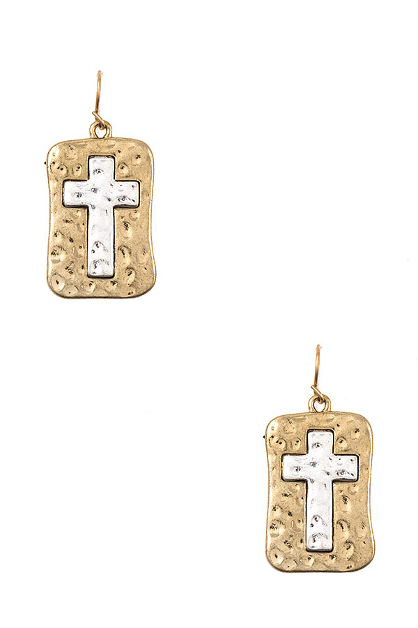 Hammered Rectangular Cross Accent Dangle Earring