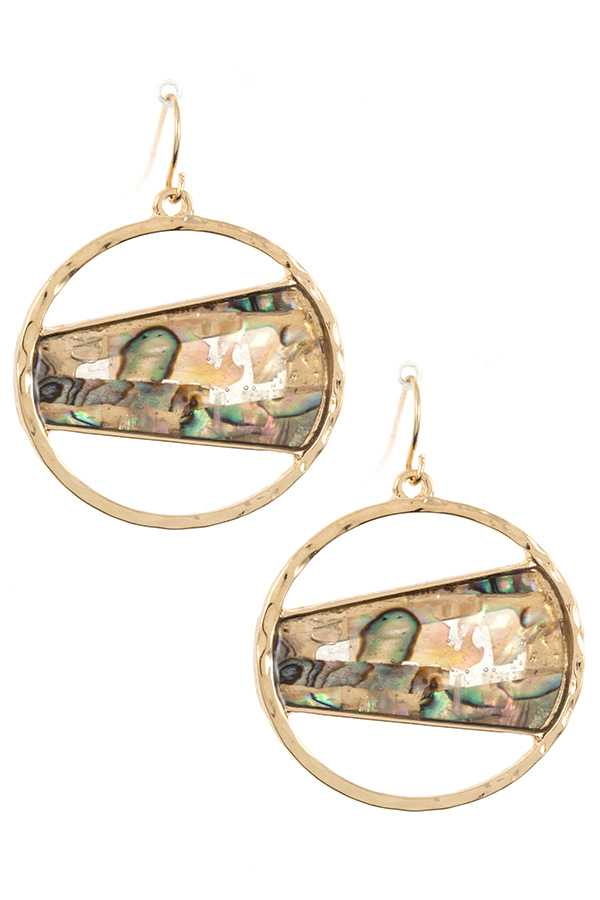 Round Abalone Stone Accent Dangle Earring
