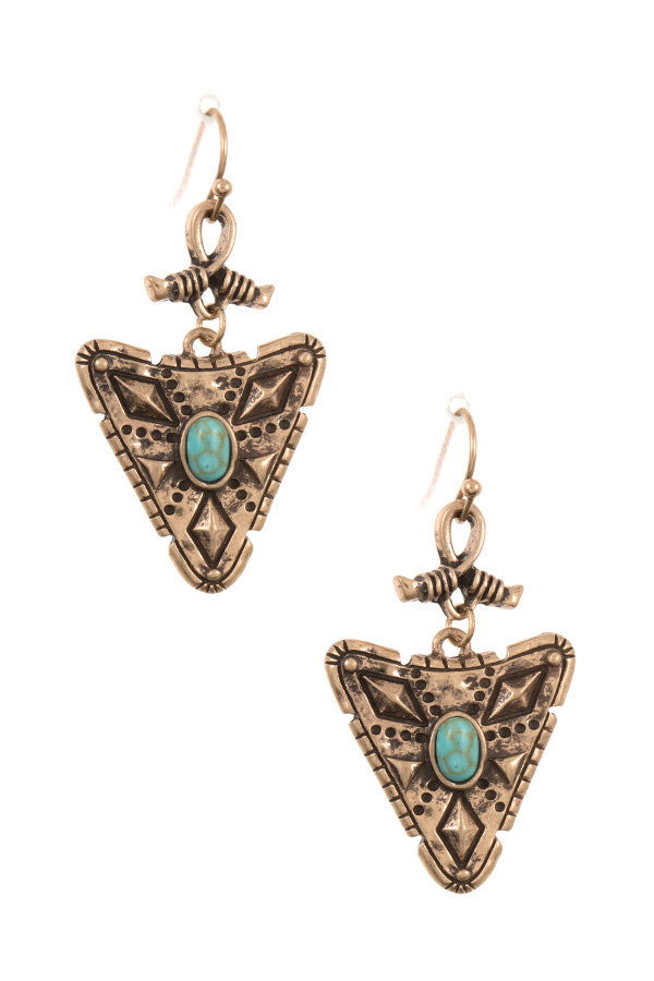 ETCHED ARROWHEAD DROP DANGLE EARRING