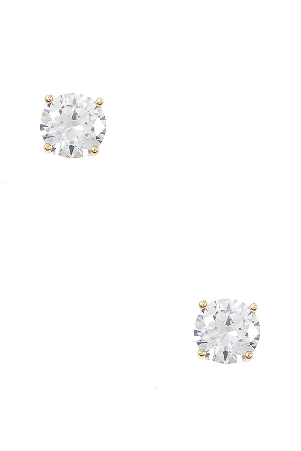 ROUND FRAMED CZ STONE POST EARRING