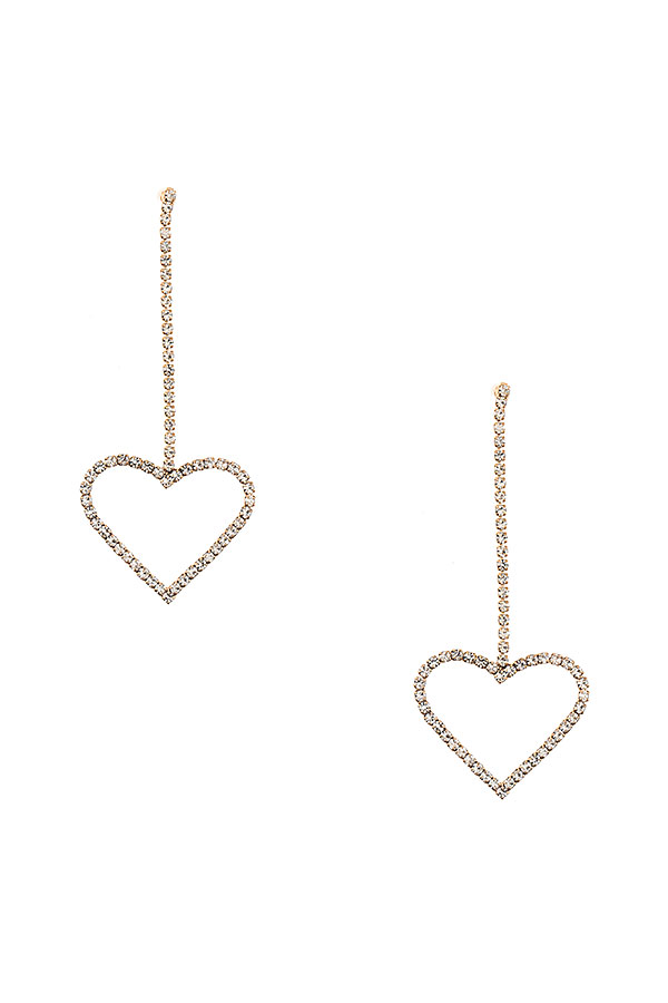 RHINESTONE HEART DROP EARRING