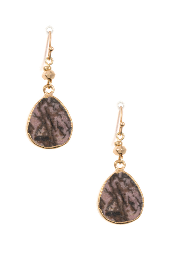 STONE TEADROP DANGLE EARRING