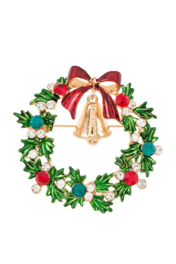 GEM ACCENT WREATH BROOCH