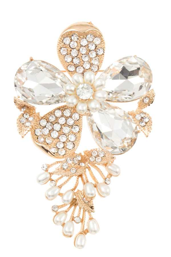 PEARL AND CRYSTAL GEM FLORAL ORNATE BROOCH