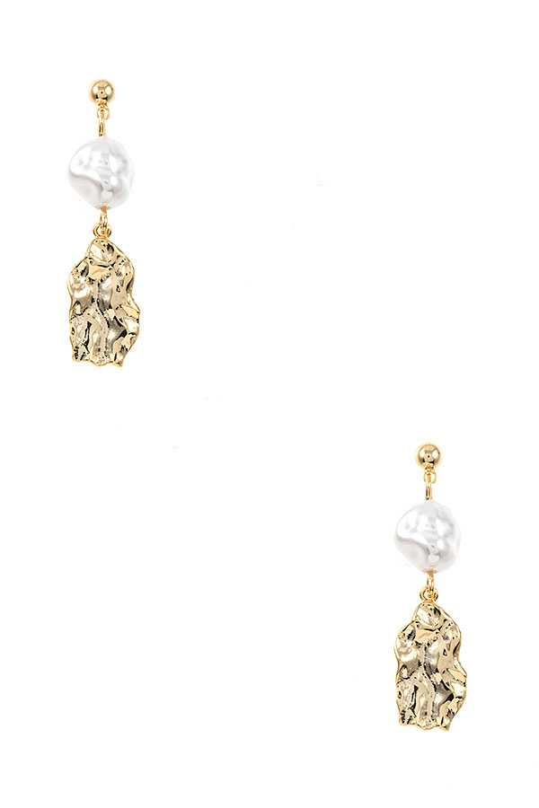 FRESHWATER PEARL DROP METAL EARRING