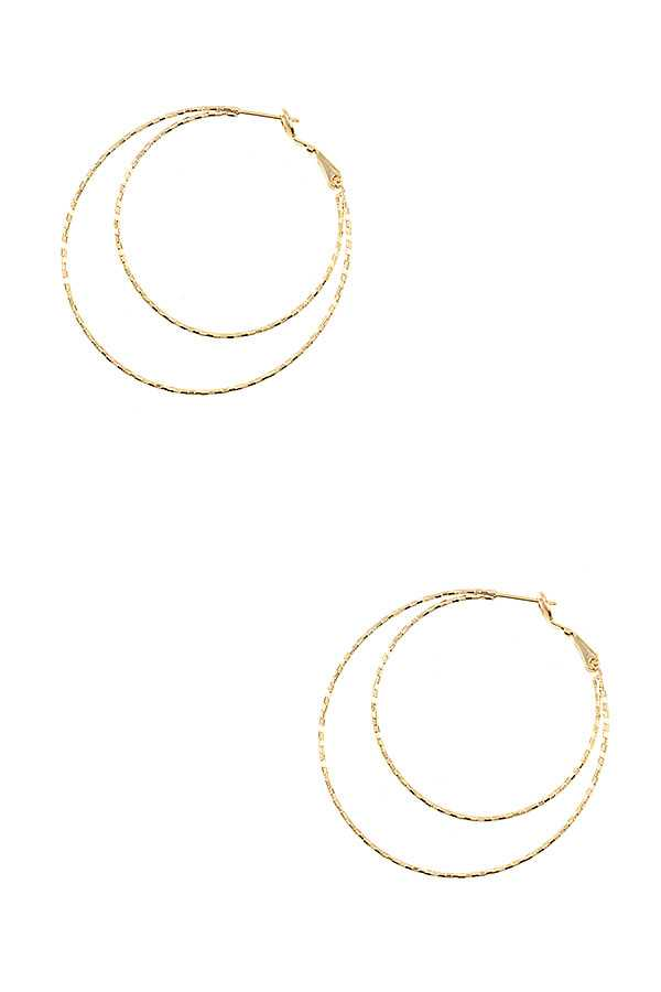 LARGE DOUBLE CIRCLE DETAILED HOOP EARRING