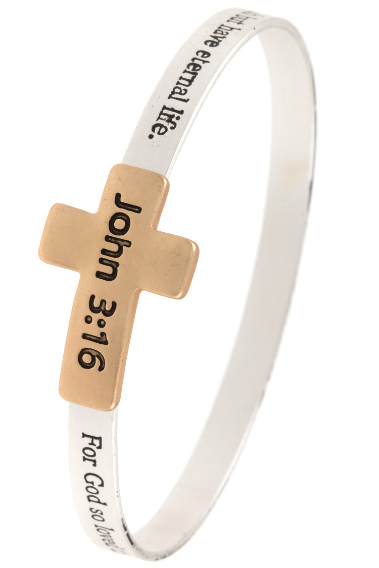 """John 3:16"" Etched Message Bangle Bracelet"