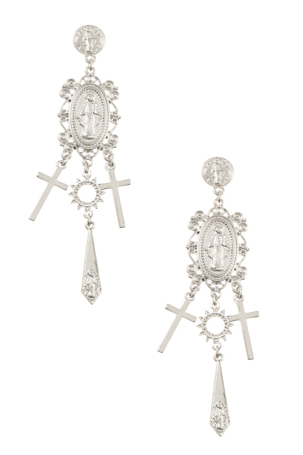 RELIGIOUS ETCHED DANGLE DROP EARRING