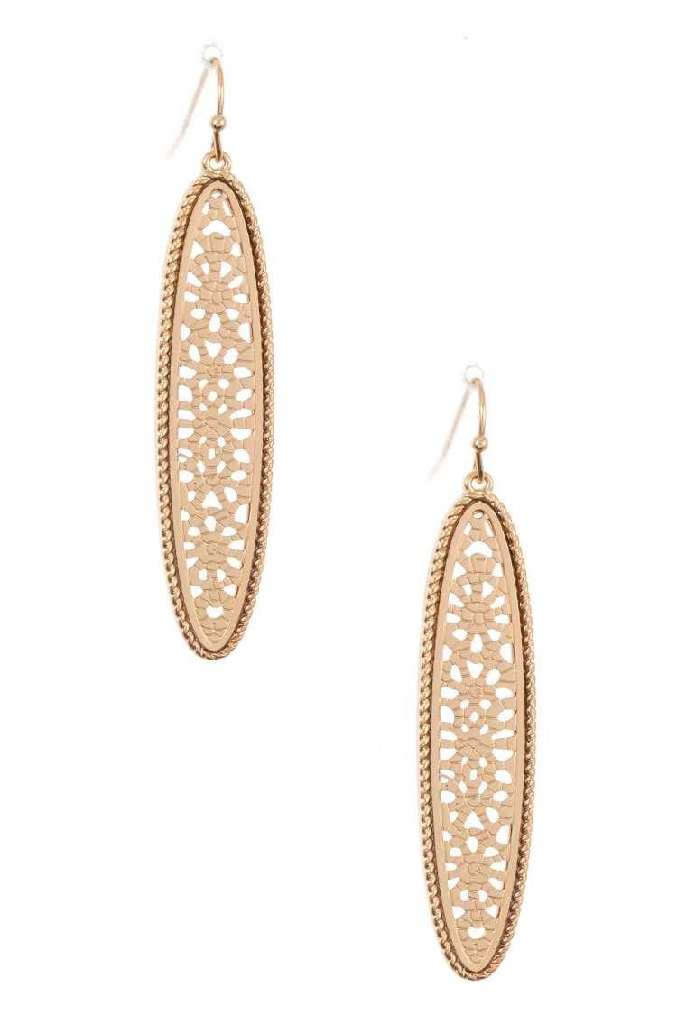 Oblong Cut Out Framed Dangle Earring