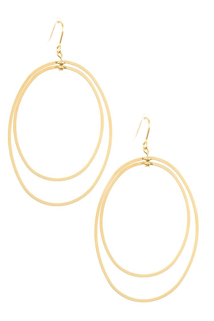 Double Link Oval Dangle Earring