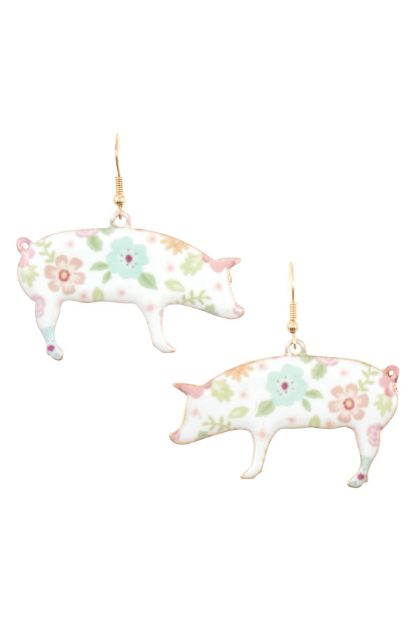 FLORAL PRINT PIG DANGLE EARRING