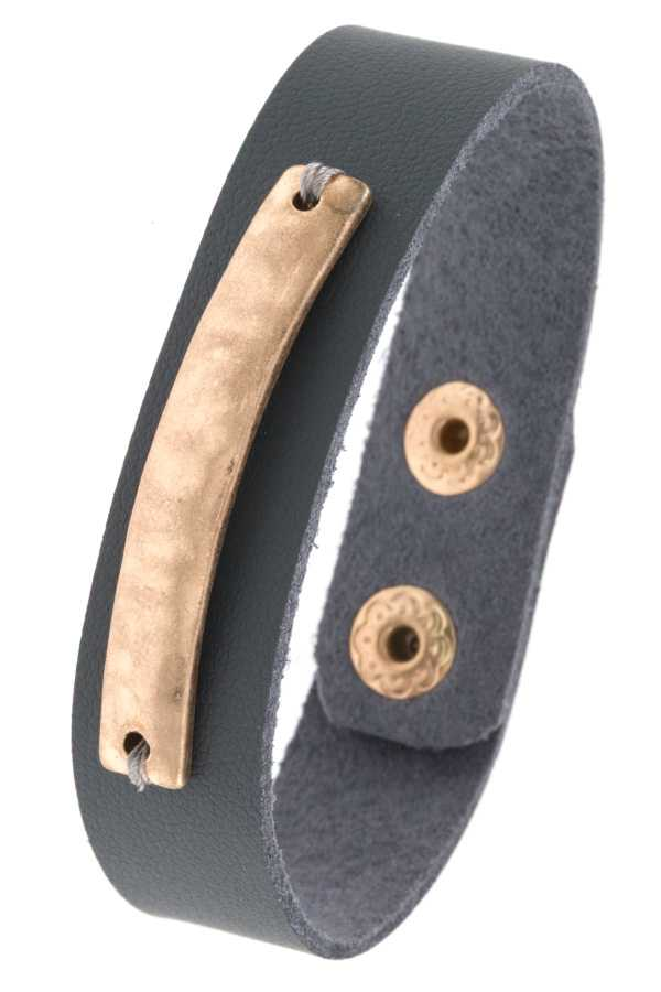 HAMMERED METAL ACCENT FAUX LEATHER BRACELET