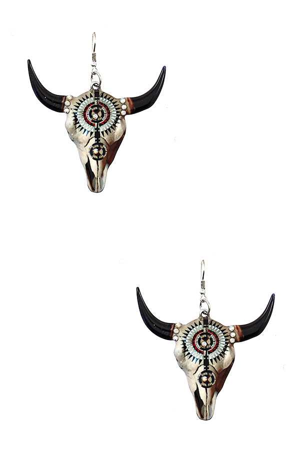 ETCHED BULL DANGLE EARRING