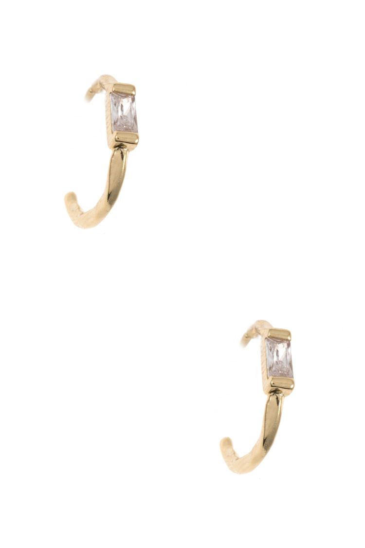 CZ Stone Semi Mini Hoop Earring