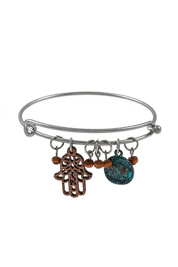 HAND CUT OUT CHARM BANGLE BRACELET