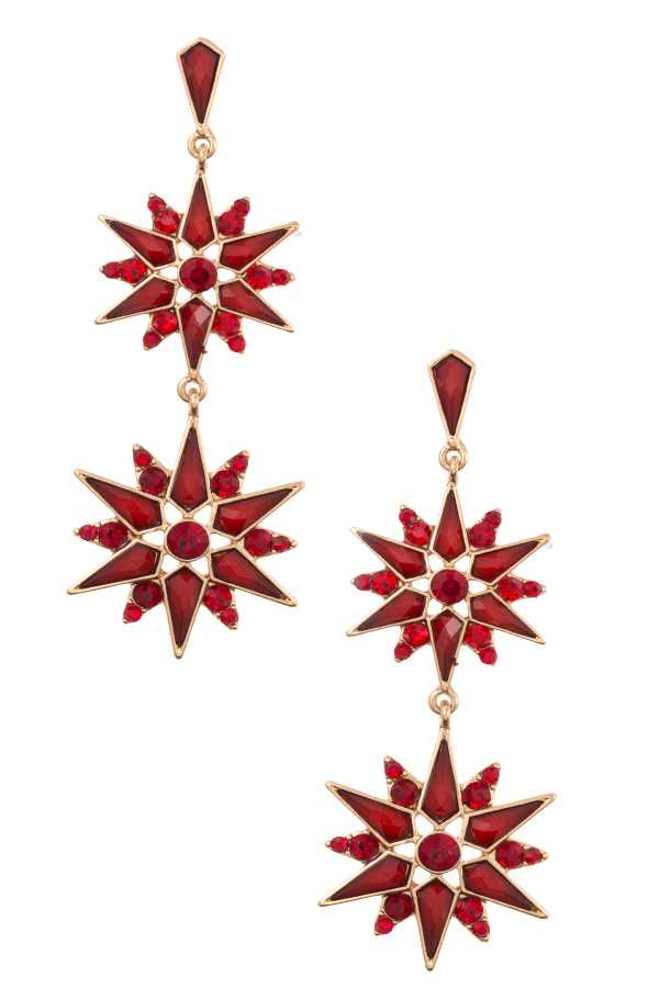 FLORAL SPIKE FRAMED GEM DOUBLE DROP EARRING
