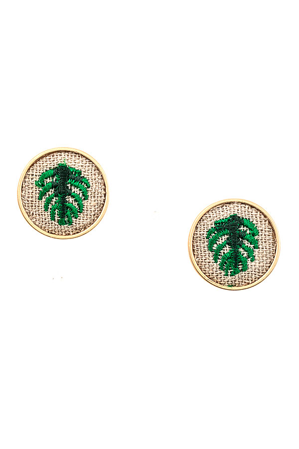 EMBROIDERED LEAF POST EARRING