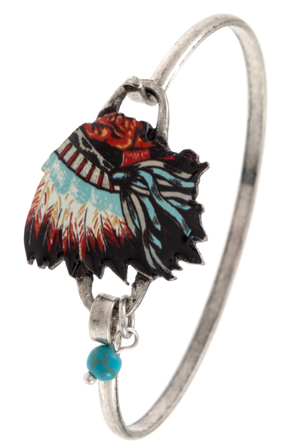 INDIAN CHIEF ACCENT BANGLE BRACELET