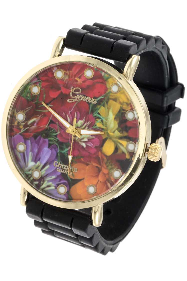 fashionable floral template rubber watch band