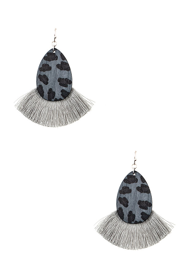 ANIMAL PRINT TEARDROP FRINGE FAN EARRING