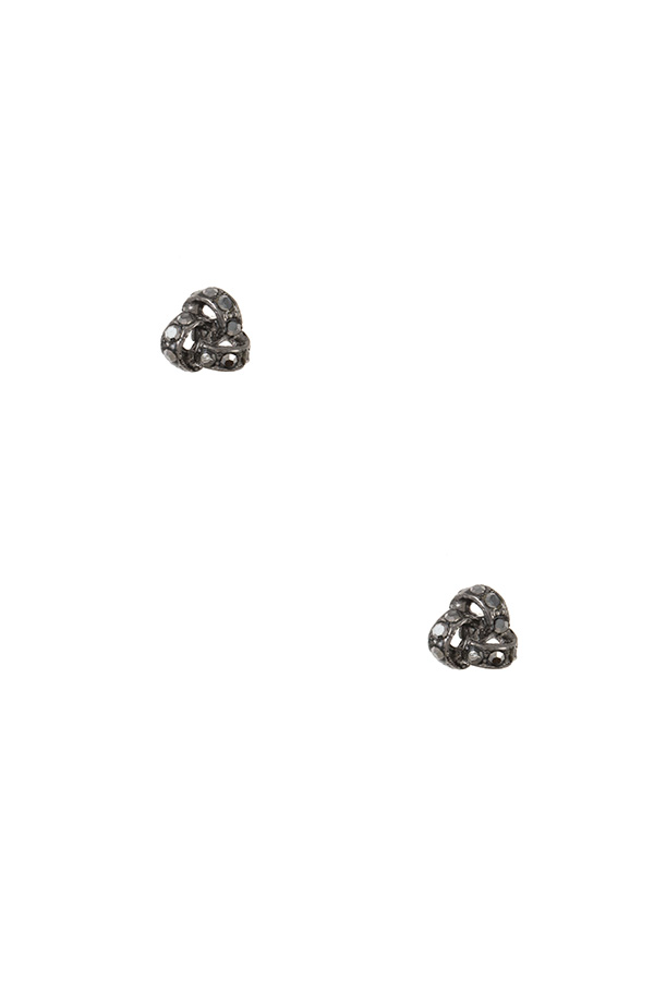 RHINESTONE PAVED KNOT POST EARRING