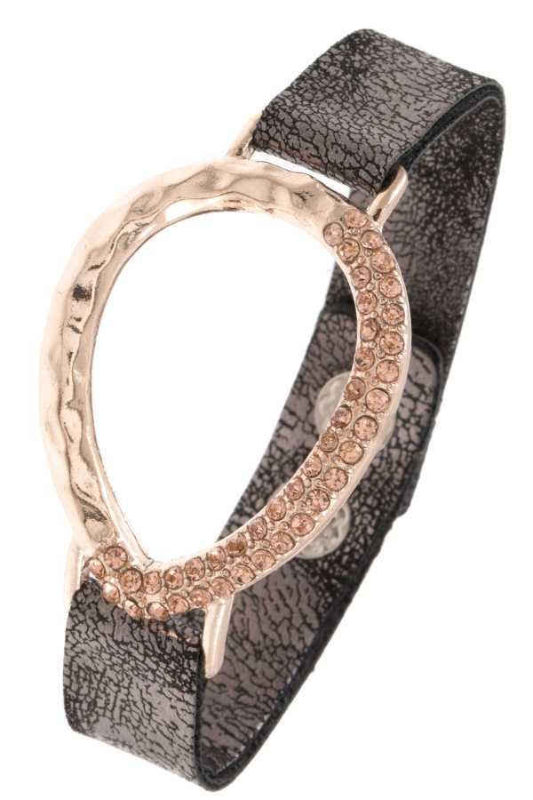 HALF RHINESTONE PAVE TEARDROP FAUX LEATHER BRACELET