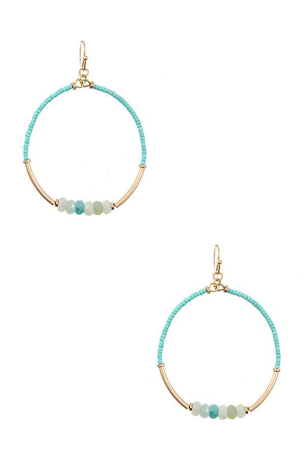 COLOR BEAD ACCENT ROUND DANGLE EARRING