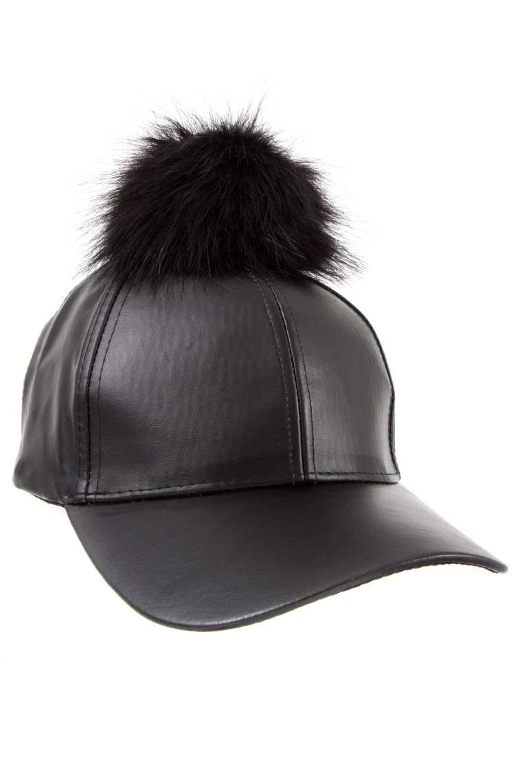 11521bc240a Faux Leather Pom Pom Baseball Cap