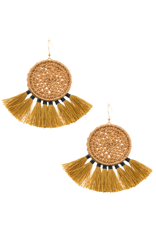 1adf1439b WOVEN CIRCLE LINK TASSEL DROP EARRING