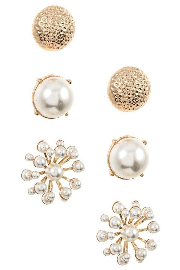 Round and Floral Faux Pearl Post Earring Set