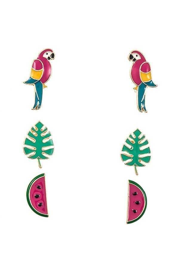 MIX PARROT POST EARRING