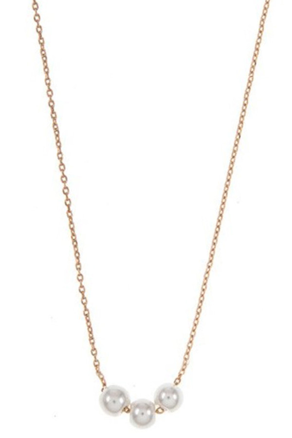 Triple Link Faux Pearl Accent Pendant Necklace
