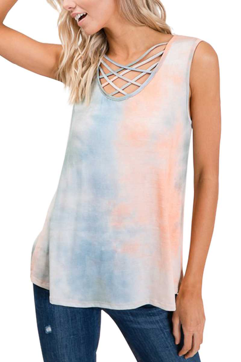 HERRINGBONE NECK DETAIL TIE DYE TOP