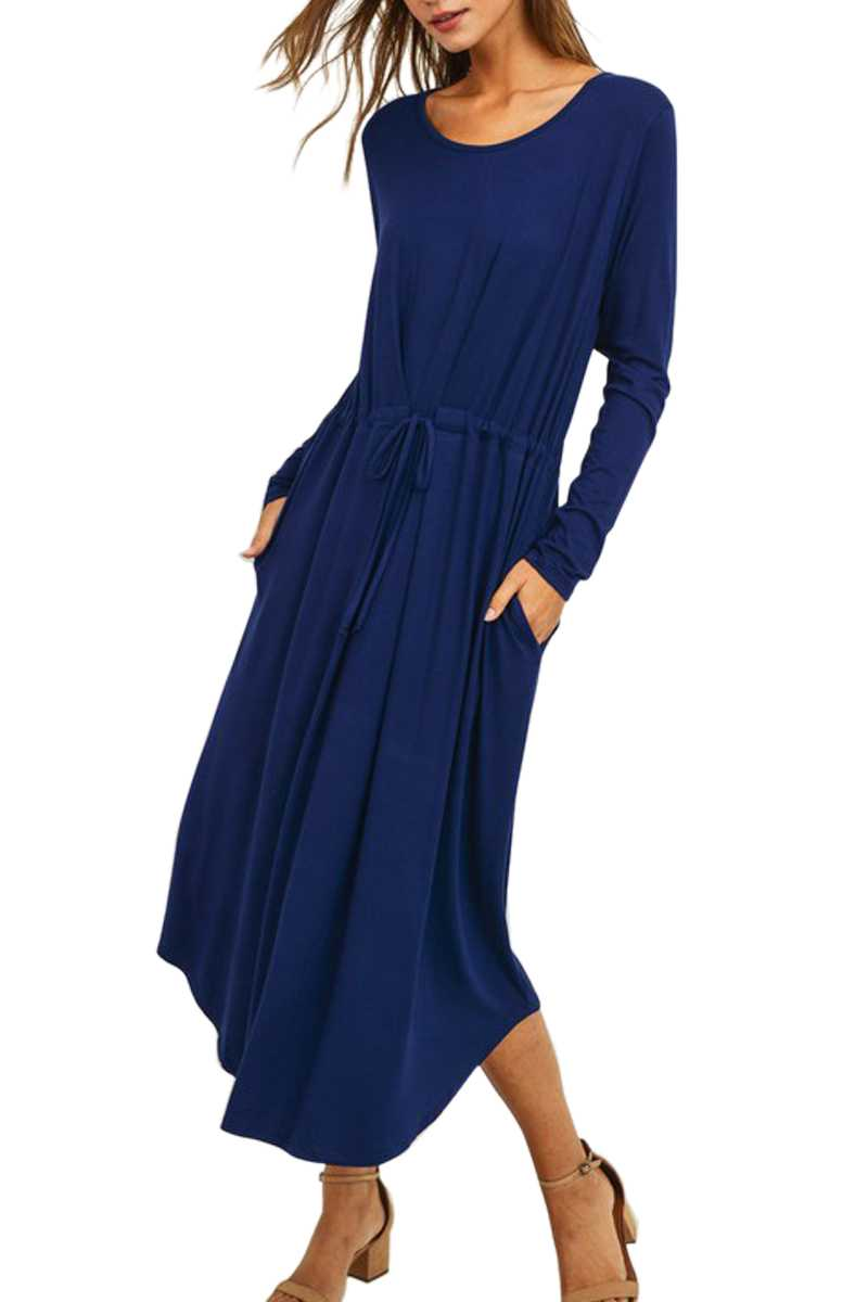 LONG SLEEVE DRAWSTRING WAIST KNIT DRESS